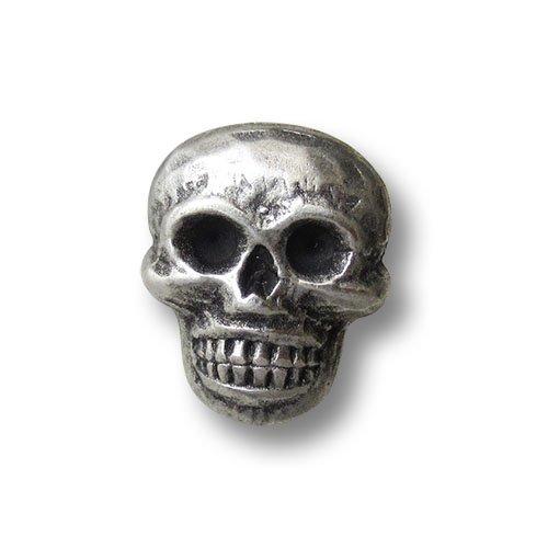 Rocker Kostüm Gothic - Knopfparadies - 3er Set gruselige altsilberfarbene Ösen Metallknöpfe mit Totenkopf Motiv / Altsilberfarben, geschwärzt / Metall Knöpfe / Ø ca. 15x18mm