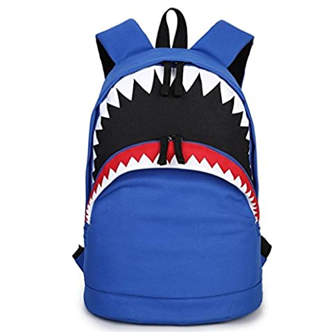 Backpack Shark Canvas Backpack Student Backpack Casual Bag Big Mouth Backpack 43cm*31cm(16.93inch*12.2inch) ( Color : Gray
