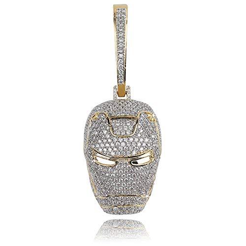 YinXX Unisex Hip Hop Kopfschmuck Hochwertige Zirkon 18 Karat Gold Anhänger Halskette Film Zeichentrickfigur Ornament - Kann Mit 18Mm Kubanischer Kette Kombiniert Werden