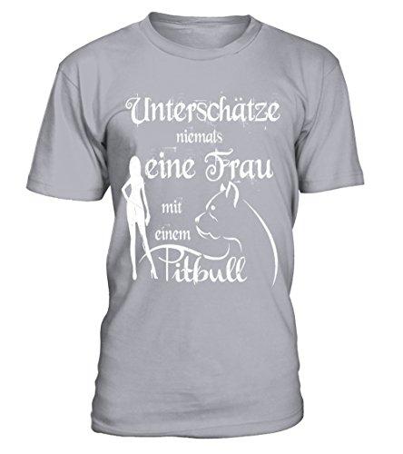 HUNDE Motiv T-Shirt: Unterschätze niemals eine Frau mit einem Pittbull - Damen Shirt Größe S bis XXXXL - in versch. Farben Sport Grey