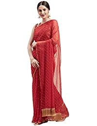 Womanista Women's Georgette with Blouse Piece 7510 Sarees (TI1177_Red_One Size)