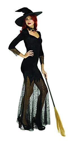 Einzigartige Hexe Kostüm - SYMTOP Halloween Kostüm Damen Hexe Verkleidung Zauberin Witch Outfit Kleid Schwarz Cosplay Party Elegant mit Hut
