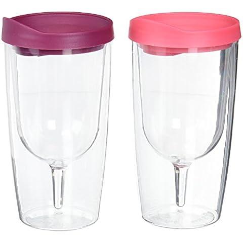 Vino Bicchiere–10oz isolato Vino doppia parete in acrilico con bevande