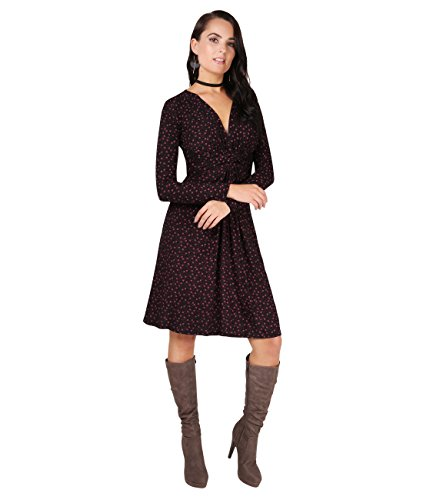 KRISP® Umstandsmode Knoten Kleid Langarm Gerafft Gebunden Weinrot (5284)