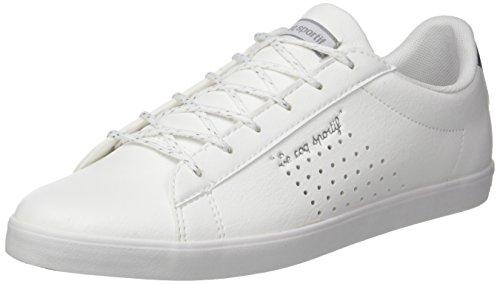 Le Coq Sportif Agate Lo S Lea/Metallic, Entrenadores Bajos para Mujer, Blanco (Optical White/Silver), 38 EU