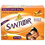 Santoor Sandalwood and Turmeric Organic ayurvedic Bath Soap for Younger Looking and shining Skin, Combo Offer 150 g Pack of 4
