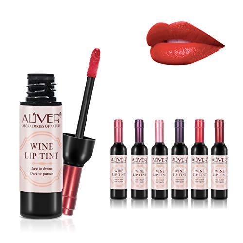 6 colori vino rossetto liquido, Lady Long Lasting Make Up Matte Lip Gloss, impermeabile, lucido, Lip Tint Migliori idee regalo di Natale per fidanzate, donne, mamm