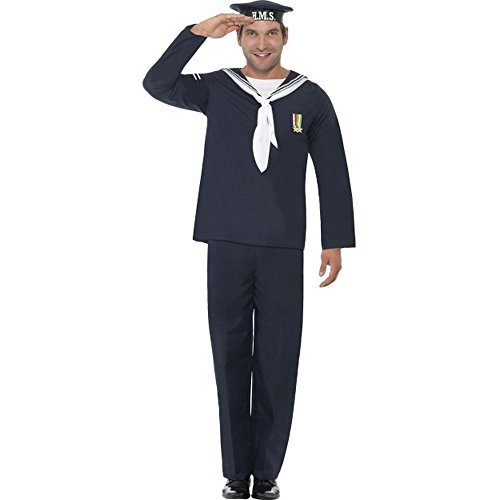 Smiffys Herren Kostüm Marine Matrose Uniform Karneval Fasching Gr.L (Matrosen Uniform Herren Kostüme)