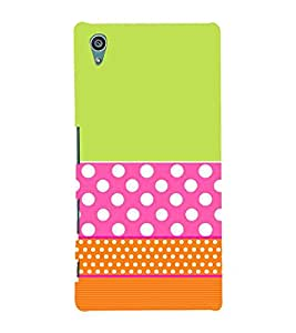 For Sony Xperia Z5 :: Sony Xperia Z5 Dual polka pattern ( polka pattern, stripes, green background, pattern, nice pattern ) Printed Designer Back Case Cover By FashionCops