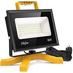 Olafus Projecteur Chantier LED 60W 6000LM Ultra-Lumineux 5000K Blanc Froid, IP66 Etanche Économie d'Énergie Éclairage Extérieur Pour Atelier Bricolage Construction