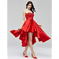 HY&OB A-Line Sweetheart Asymmetrical Satin Cocktail Party Homecoming Dress With Beading Appliques Sash / Ribbon Ruching