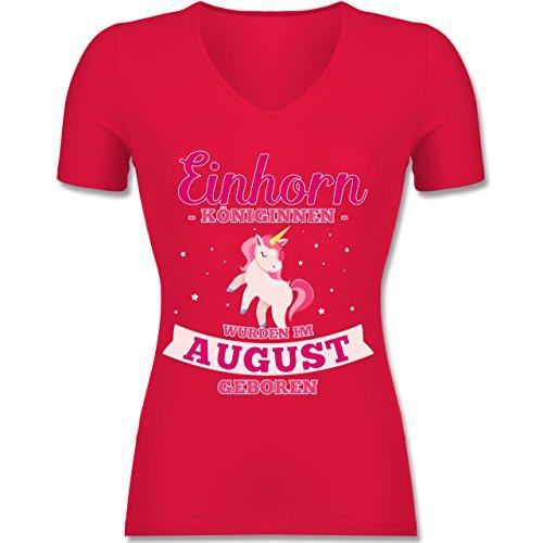 Geburtstag - Einhorn Königinnen Wurden IM August Geboren - Tailliertes T-Shirt mit V-Ausschnitt für Frauen Rot