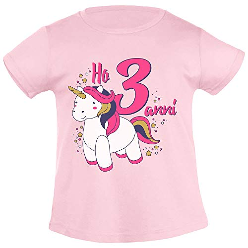 Dolce Unicorno Ho Tre Anni Regalo Compleanno T Shirt Maglietta Bambina