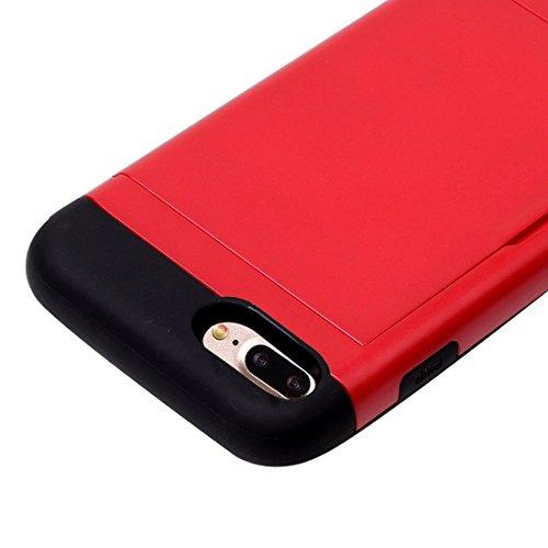 Hülle für iPhone 7 plus , Schutzhülle Für iPhone 7 Plus Slide Style TPU + PC Kombi-Gehäuse mit Kartensteckplatz ,hülle für iPhone 7 plus , case for iphone 7 plus ( Color : Rose Gold ) Red