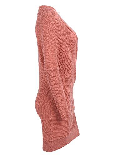 461151cd373 Simplee Apparel Damen Winter Kleid Elegant Langarm Kreuz V-Ausschnitt ...
