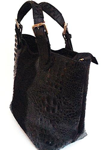 SUPERFLYBAGS Borsa Sacca Shopper In Vera Pelle Camoscio stampa coccodrillo moodello Teresa Croco Made In Italy nero