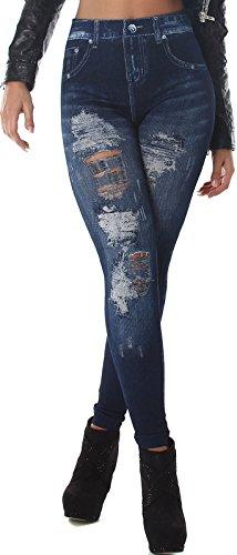 Veryzen Damen High Waist Jeggings Risse Destroyed Leggings Hoher Bund Jeans-Look Leggings Print Bedruckt 'Blue Jeans' 34 36 38
