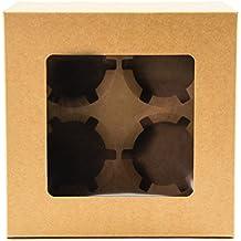Scatola marrone per 4 cupcake, con finestra da esposizione (confezione da 10 scatole)
