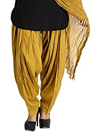 Funfabrics Women Cotton Solid Full Free Size Brown Plain Patiala Salwar Dupatta Set Cotton Patiala Dupatta