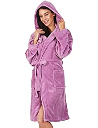 Albornoz M Corto Mujer Hombre Unisex Capucha Bata Microfibra Suave Agradable Ligero Fleece Lila Robby