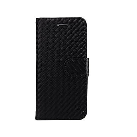 ARTLU® (Noir en fibre de carbone Wallet) For iphone 7 plus (5.5) étui Cover Case Carbon Fiber BookStyle PU cuir Wallet flip avec le Crédit couverture de peau Slot / carte de débit Avec écran Wallet Portefeuille Support avec Porte-cartes pour iphone 7 plus (5.5)