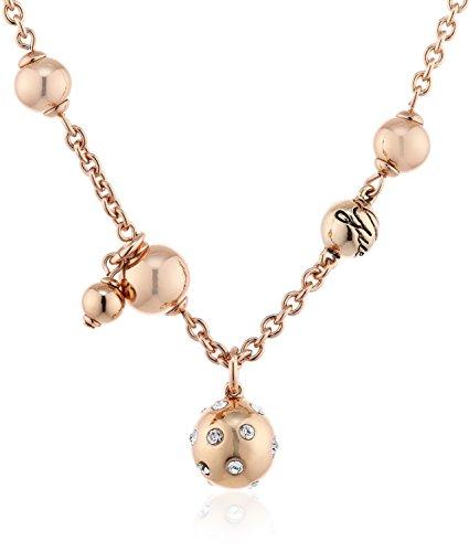 Guess ubn31317 collana da donna con ciondolo in acciaio inox rodiato con zirconi bianchi taglio rotondo, 40cm