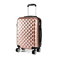 """Kono 20"""" Hand Luggage Lightweight Hard Shell PC+ABS Suitcase 4 Spinner Wheels 360 Degree Rolling Cabin (Small, Nude)"""