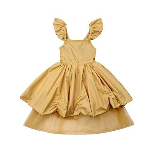 Frecoccialo Baby Mädchen Prinzessin Kleid Festlich Kleid Ärmellos Tutu Taufkleid Hochzeit Partykleid Festzug Babybekleidung