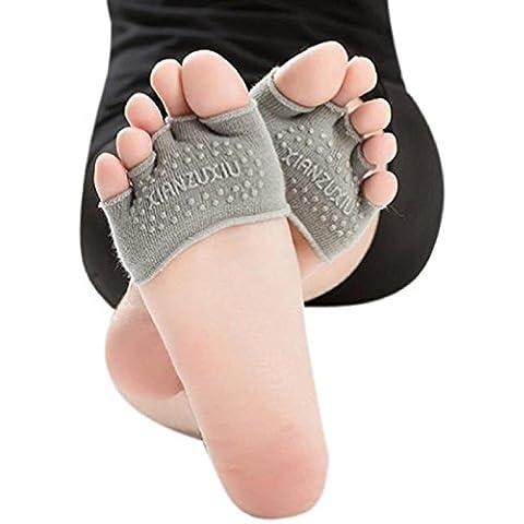 ZARU Mujeres mitad de la empuñadura del talón del dedo del pie del resbalón no Calcetines de cinco dedos calcetines de gimnasia yoga invisible