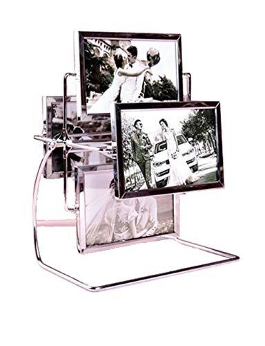 en, Bilderrahmen aus Eisen + Glas, moderner Fotorahmen im minimalistischen Stil, freistehender doppelseitiger Fotorahmen, kreativer Riesenrad-Kombinationsfotorahmen ()