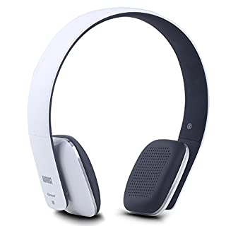 August EP636 Bluetooth Headphones - White - On Ear Wireless Headset with Mic & Bluetooth V4.1