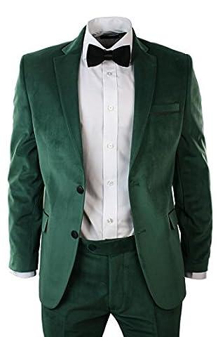 Costume homme velours vert coupe ajustée veste pantalon et noeud paillon noir