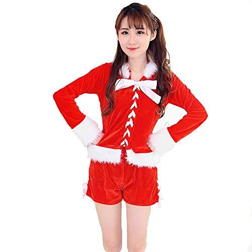 Santa Kostüm Billig Sexy - Santa Anzug Adult Cosplay Sexy Red Zubehör Bühne Kostüm Fancy Dress Outfits Für Weihnachten/Karneval Halloween,Red,OneSize