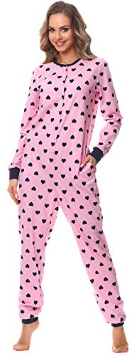 Merry Style Damen Schlafanzug Strampelanzug Schlafoverall MS10-187 (Rosa (HerzenMarine), M)