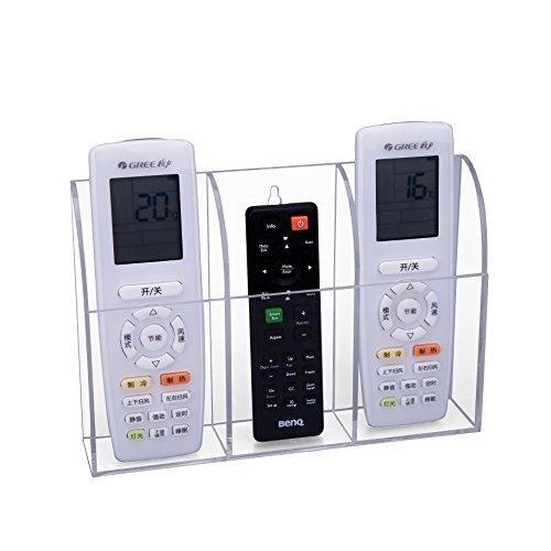 HBF Portatelecomando da Parete in Acrilico Trasparente Contenitore da Parete per Telecomando Vario e Cellulare Organizer per Casa 3 Scomparti Salva Telecomando