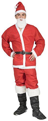 Langer Kostüm Bart - Das Kostümland Weihnachtsmann Nikolaus Kostüm - 5-teiliges Set mit Bart, Mütze, Jacke, Hose und Gürtel - für Weihnachten, Weihnachtsfeier, Party und Fasching, Rot/Weiß, L/XL