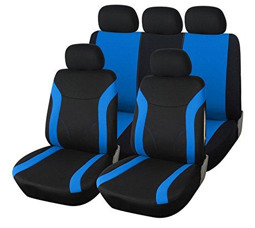 upgrade4cars Coprisedili Auto Universale Nero & Blu | Copri Sedili Universali per Anteriori e Posteriori | Accessori Automobile Interni | Foderine Sedili | Set Coprisedile Completo di 9