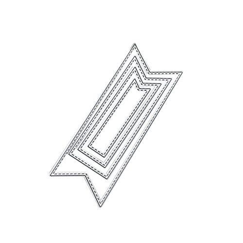 Makwes 4 Teile/satz Banner Form Metall Stanzen Sterben DIY Prägeschablone Sammelalbum Dekor, Geburtstagsweihnachtsfest Valentinstag Staffelungsjahreszeit, Handgemachte Fotoalbum Kartendekoration (Metall-buchstaben-wand-dekor)