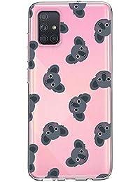 Oihxse Compatible con Samsung Galaxy A51/M40S Funda Cristal Silicona TPU Suave Ultra-Delgado Protector Estuche Creativa Patrón Protector Anti-Choque Carcasa Cover(Pereza A9)