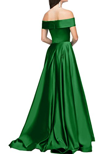 Ivydressing Damen Modern U-Ausschnitt Satin A-Linie Lang Partykleid  Promkleid Festkleid Abendkleid Grün ...