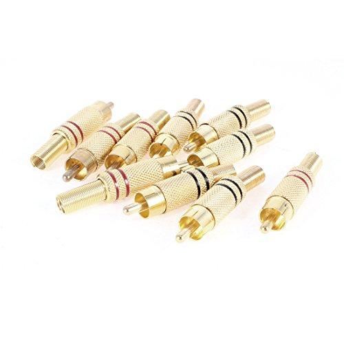 sourcingmapr-10-pezzi-oro-tono-rosso-nero-molla-end-maschio-rca-spina-connettore-audio