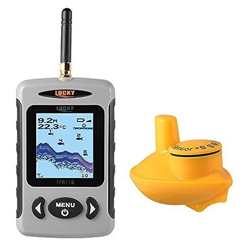 XCSOURCE Détecteur de poissons portable Sondeur sans fil de 120 m Capteur de profondeur de 45 m / 135 pieds Détecteur de densité LCD avec rétro-éclairage