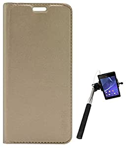 TBZ PU Leather Flip Cover Case for Panasonic Eluga Mark with Selfie Stick Monopod with Aux -Golden