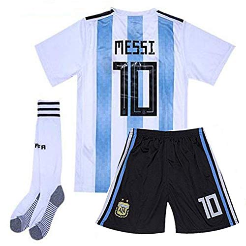 Argentinien Fußball Trikot (Brosin Fußball-T-Shirt Sportanzug Trikot, Nr. 10 Messi Weltmeisterschaft Argentinien Fußball-Sportbekleidung, Jungen-T-Shirt Für Kinder + Kurz + Socke (6-8 Years of age/24, 2019))