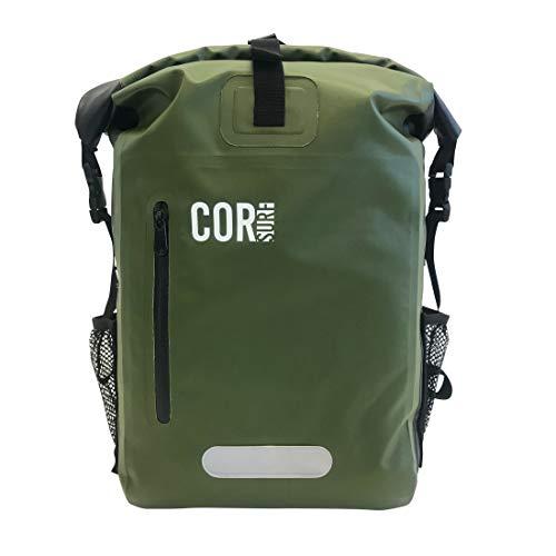 COR Mochila de bolsa seca impermeable con funda acolchada para portátil 25 litros  40 litro  Gris  Verde (verde, 25 L)
