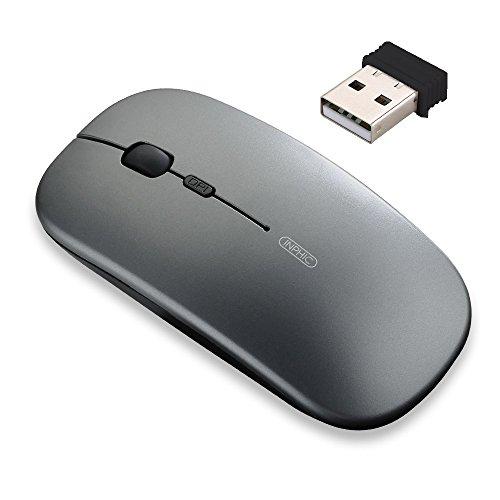 Ratón inalámbrico recargable, mini ratón óptico silencioso, ultra delgado 1600 DPI para ordenador portátil, MacBook
