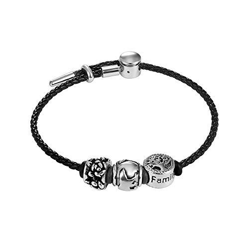 Ziilay Lederarmband Damen Beaded Perlen Armband Edelstahl Schmuck Geschenk für Familien Oma Mama Tochter