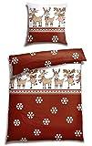 Casatex Fein-Biber Bettwäsche TREMLO Rentier Schneesterne kuschelweicher Bettbezug 135 cm x 200 cm rot-braun