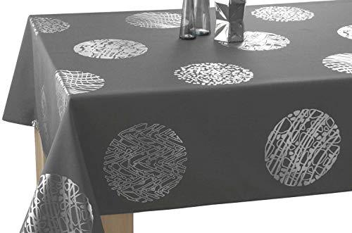 Le linge de Jules Nappe Cosmos - Entretien Facile Gris foncé - Taille : Carrée 180x180 cm