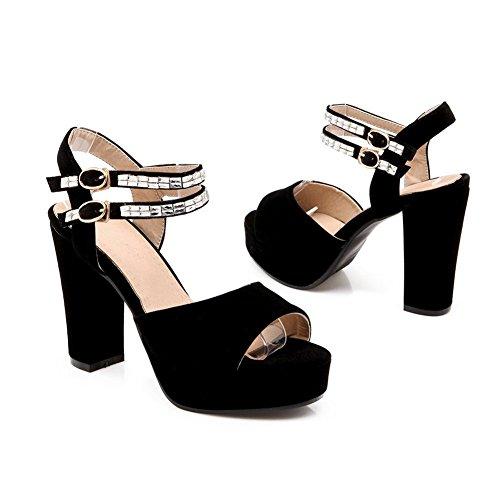 Adee Mesdames strass open-toe givré Sandales Noir